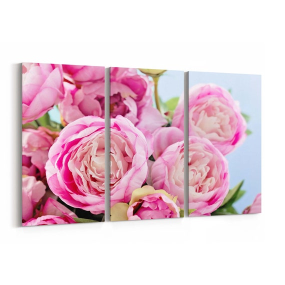 Peony flowers Canvas Print Peony flowers Wall Art Canvas Multiple Sizes Wrapped Canvas on Wooden Frame