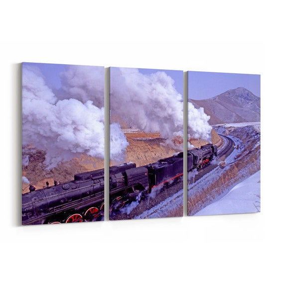 Steam Train Canvas Print Steam Train Wall Art Canvas Multiple Sizes Wrapped Canvas on Wooden Frame