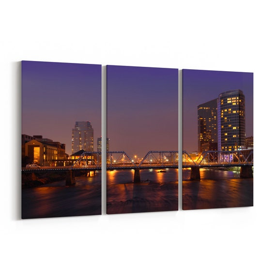 Grand Rapids City Skyline Wall Art Grand Rapids City Canvas Print Multiple Sizes Wrapped Canvas on Wooden Frame
