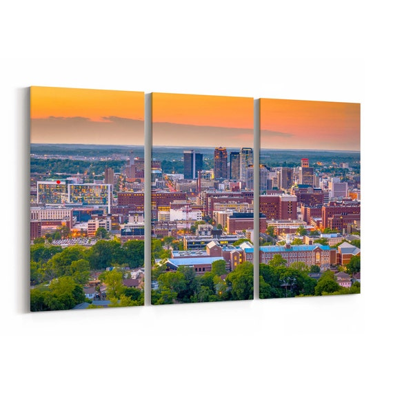 Birmingham Canvas Print Birmingham Wall Art Canvas Alabama Multiple Sizes Wrapped Canvas on Wooden Frame