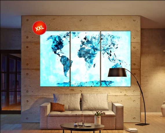 turquoise world map  print on canvas wall art turquoise world map Art Print artwork large world map Print home office decoration