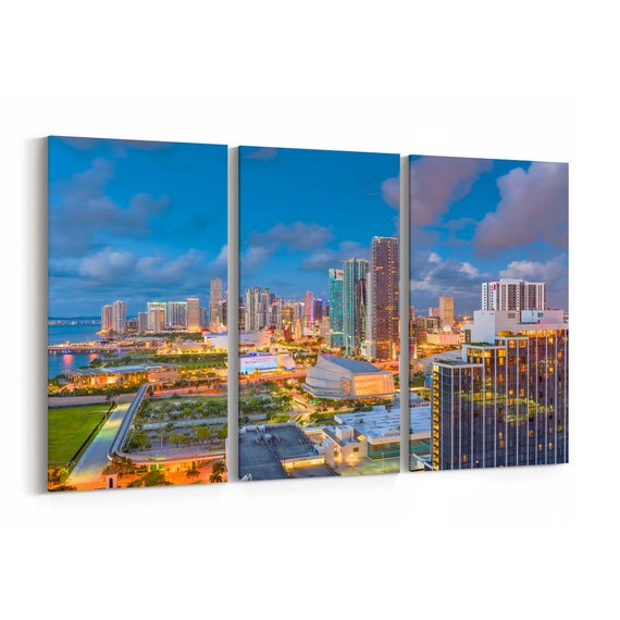 Miami Skyline Wall Art Miami Canvas Print Florida Multiple Sizes Wrapped Canvas on Wooden Frame