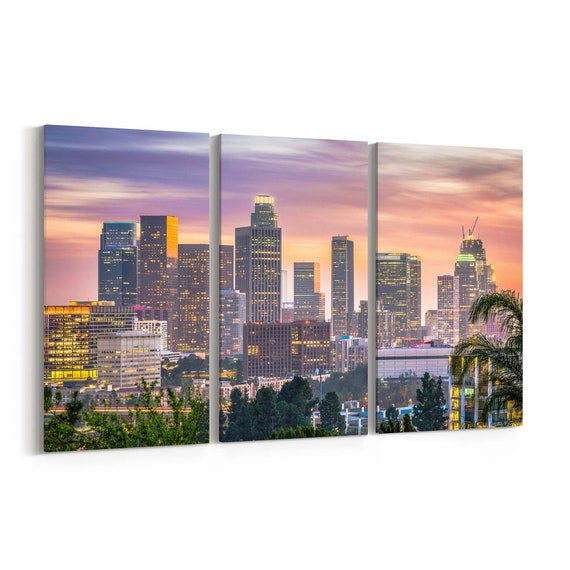 Los Angeles Skyline Wall Art Canvas Los Angeles Canvas Print California Multiple Sizes Wrapped Canvas on Wooden Frame