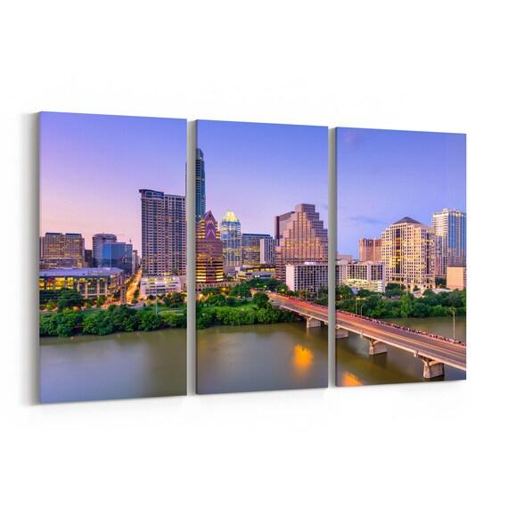 Austin Canvas Print Austin Wall Art Canvas Texas Multiple Sizes Wrapped Canvas on Wooden Frame