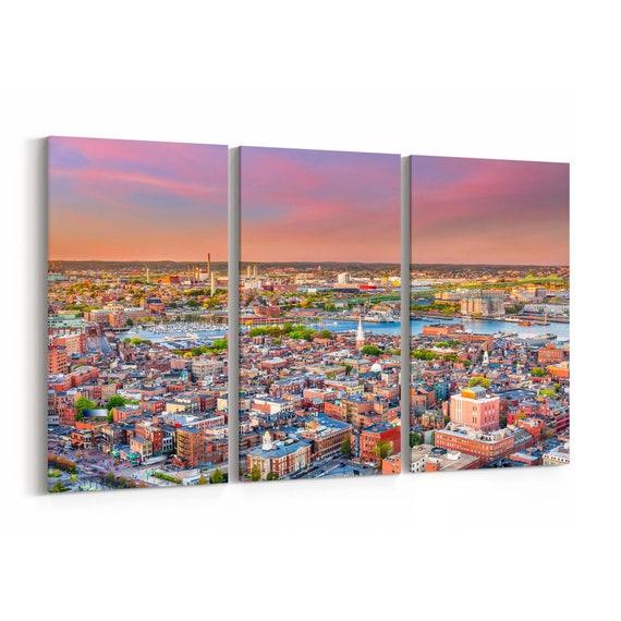 Boston Canvas Print Boston Wall Art Canvas Massachusetts Multiple Sizes Wrapped Canvas on Wooden Frame