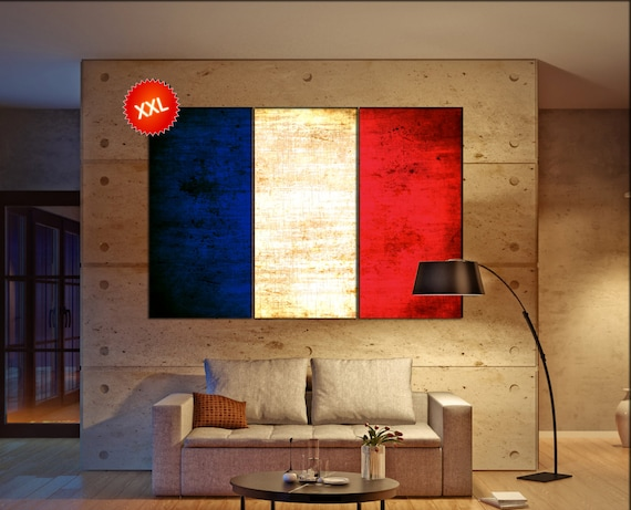 France flag canvas wall art art print large  canvas wall art print France country flag Wall Home office decor interior Office Decor