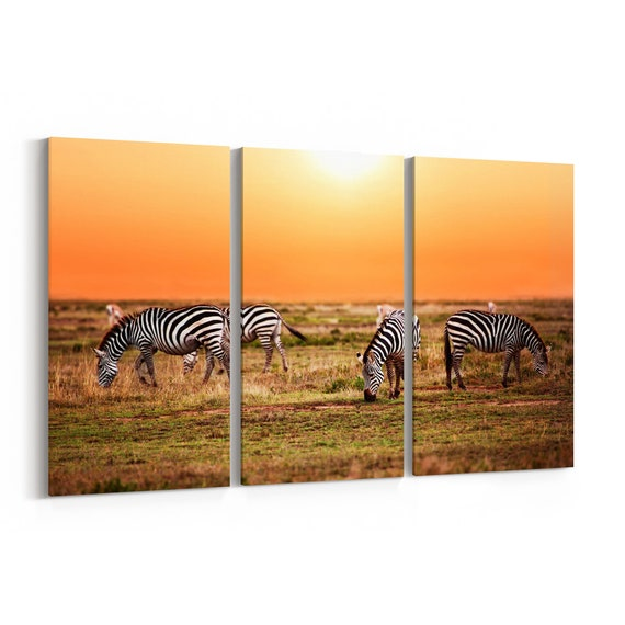 Zebras Canvas Print Zebras Wall Art Canvas Multiple Sizes Wrapped Canvas on Wooden Frame