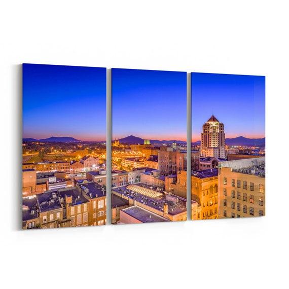 Roanoke Skyline Canvas Roanoke Canvas Wall Art Virginia Multiple Sizes Wrapped Canvas on Wooden Frame