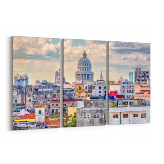 Havana Skyline Wall Art Havana Canvas Print Cuba Multiple Sizes Wrapped Canvas on Wooden Frame