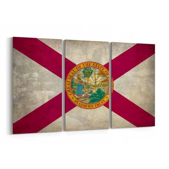 Florida State Flag Canvas Print Florida State Flag Wall Art Canvas Multiple Sizes Wrapped Canvas on Wooden Frame
