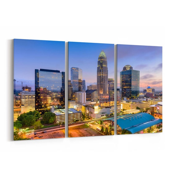 Charlotte Canvas Art Charlotte Wall Art Canvas North Carolina Multiple Sizes Wrapped Canvas on Wooden Frame