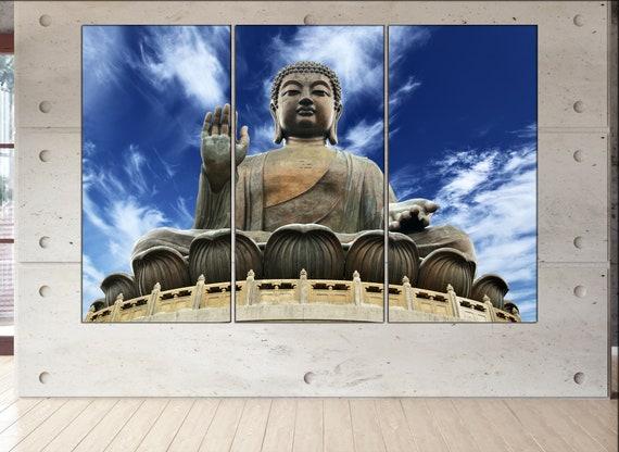 Buddha  print  on canvas wall art Giant Buddha sitting on lotusl photo art work framed art artwork