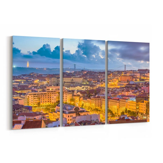 Lisbon Canvas Print Lisbon Wall Art Canvas Portugal Multiple Sizes Wrapped Canvas on Wooden Frame