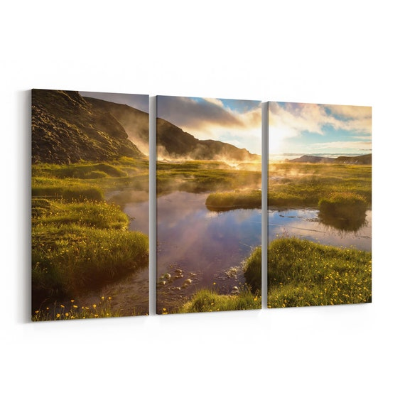 Lake in Nature Canvas Print Lake in Nature Wall Art Canvas Multiple Sizes Wrapped Canvas on Wooden Frame