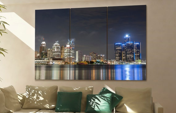 Detroit skyline Detroit wall art Detroit city Detroit art Detroit cityscape Detroit downtown Detroit canvas