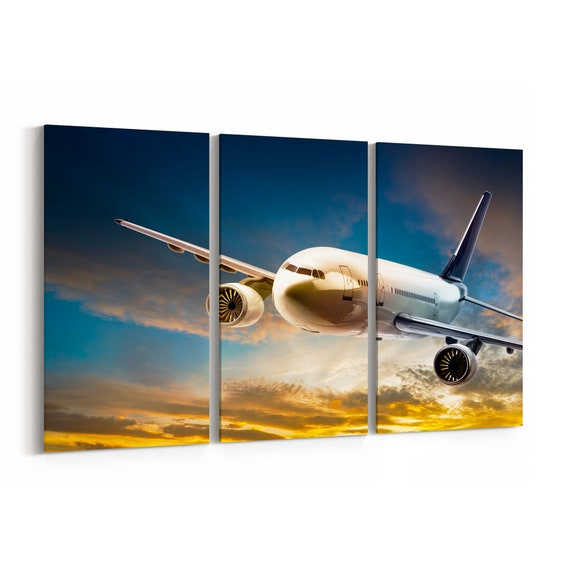 Airplane Canvas Print Airplane Wall Art Canvas Multiple Sizes Wrapped Canvas on Wooden Frame