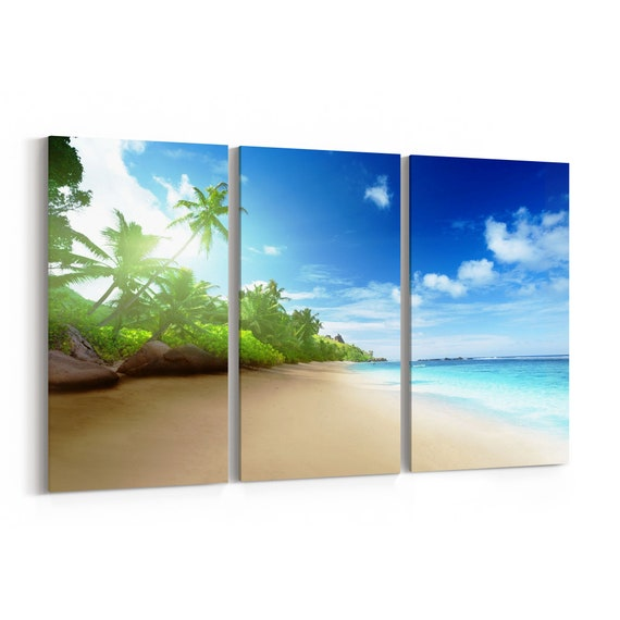 Beach with Palms Wall Art Canvas Beach with Palms Canvas Print Multiple Sizes Wrapped Canvas on Wooden Frame