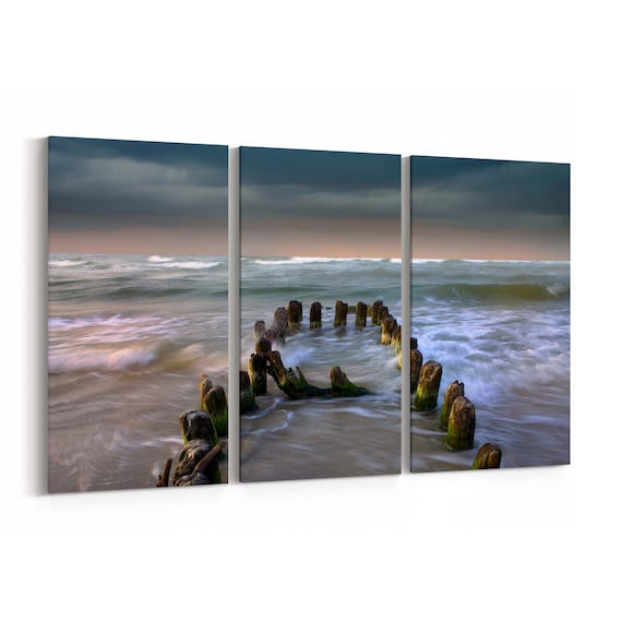 Storm on the sea Canvas Print Storm on the sea Canvas Art Multiple Sizes Wrapped Canvas on Wooden Frame
