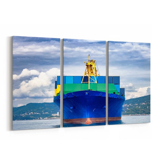 Cargo Ship Wall Art Canvas Cargo Ship Canvas Print Multiple Sizes Wrapped Canvas on Wooden Frame
