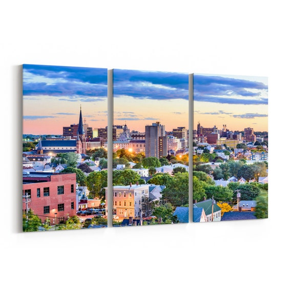 Portland Skyline Wall Art Portland Canvas Maine Multiple Sizes Wrapped Canvas on Wooden Frame