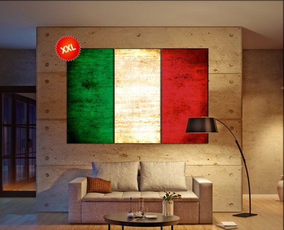 Italy flag canvas art print large  canvas print Italy country flag Wall Home office decor interior Office Decor canvas