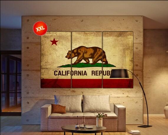 california flag  canvas california bear flag wall decoration california flag canvas art california flag large canvas