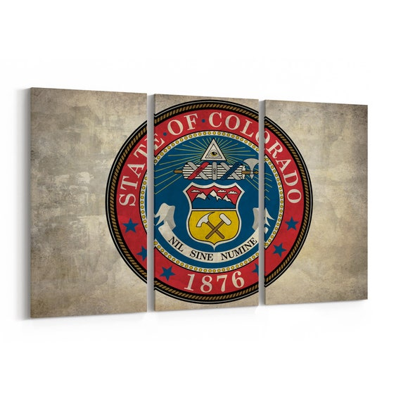 Colorado State Seal Wall Art Canvas Colorado State Seal Canvas Print Multiple Sizes Wrapped Canvas on Wooden Frame