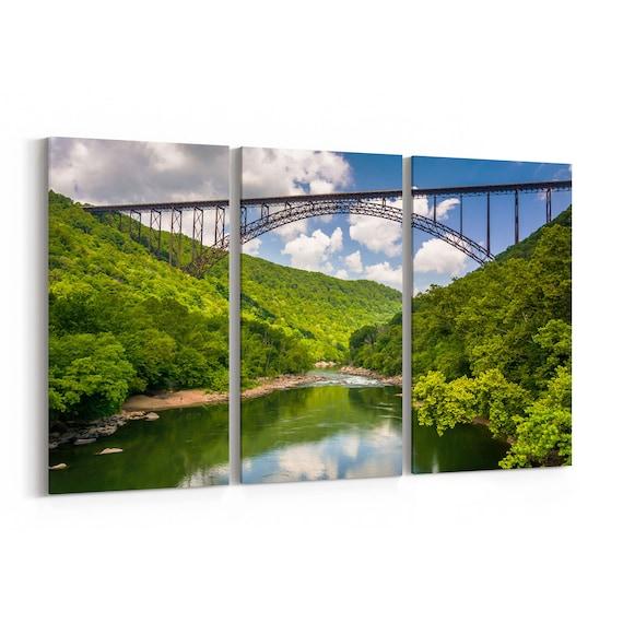 New River Gorge Bridge Skyline Wall Art New River Gorge Bridge Canvas Print Multiple Sizes Wrapped Canvas on Wooden Frame