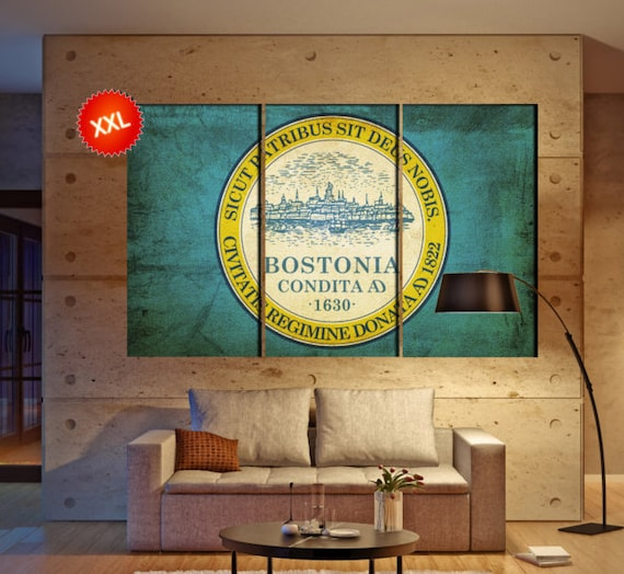 LARGE 3 panels / boards wrapped stretched City of Boston flag, The Cradle of Liberty canvas wall art Giclee Art wall  art Repro