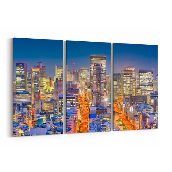 Osaka Skyline Wall Art Osaka Canvas Print Japan Multiple Sizes Wrapped Canvas on Wooden Frame