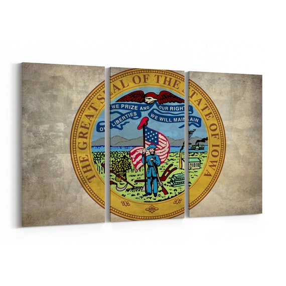Iowa State Seal Wall Art Canvas Iowa State Seal Canvas Print Multiple Sizes Wrapped Canvas on Wooden Frame