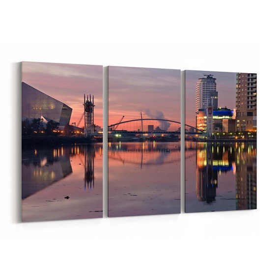 Salford Skyline Wall Art Salford Canvas Print Multiple Sizes Wrapped Canvas on Wooden Frame