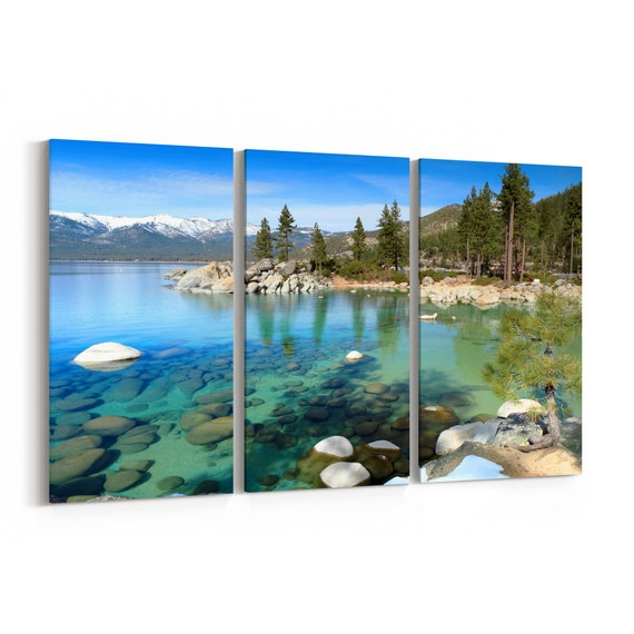 Lake Tahoe Canvas Art Lake Tahoe Wall Art Canvas Multiple Sizes Wrapped Canvas on Wooden Frame