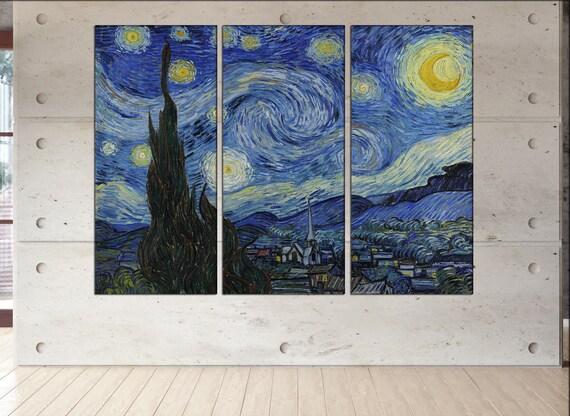 Starry night canvas wall art print Vincent van Gogh Starry Night wall art Van gogh starry night print starry night print on canvas