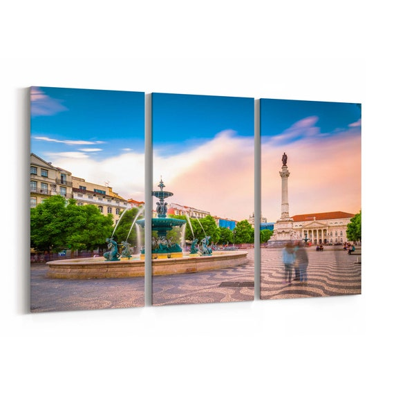 Lisbon Skyline Wall Art Canvas Lisbon Canvas Print Portugal Multiple Sizes Wrapped Canvas on Wooden Frame