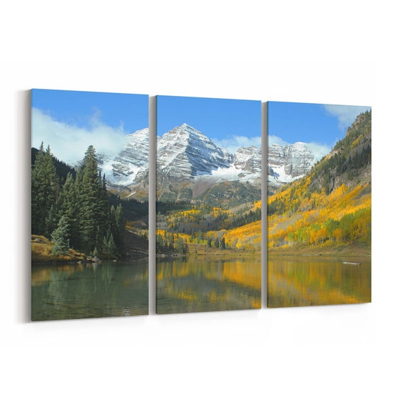 Maroon Bells Canvas Print Maroon Bells Wall Art Canvas Multiple Sizes Wrapped Canvas on Wooden Frame