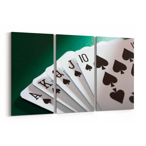 Poker Cards Canvas Print Poker Cards Wall Art Canvas Multiple Sizes Wrapped Canvas on Wooden Frame