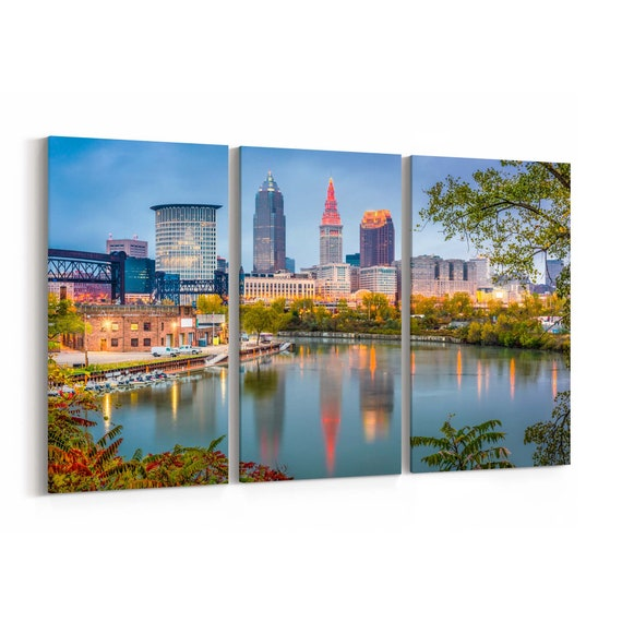Cleveland Canvas Print Cleveland Wall Art Canvas Ohio Multiple Sizes Wrapped Canvas on Wooden Frame