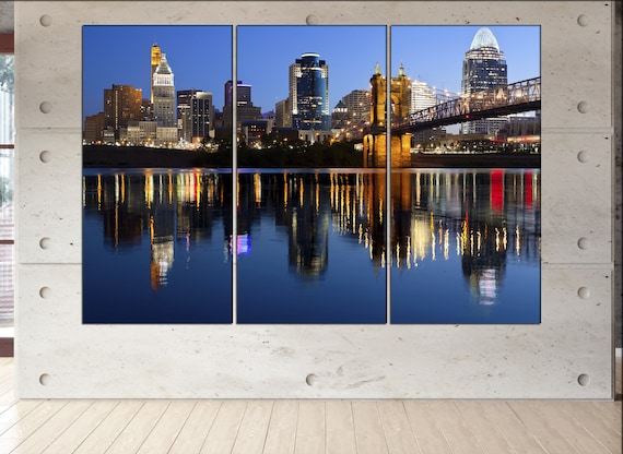 Cincinnati  canvas wall art skyline Cincinnati wall decoration Cincinnati  canvas wall art art Cincinnati  wall decor canvas wall art art