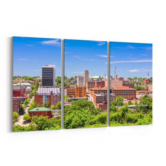 Lynchburg Skyline Wall Art Canvas Lynchburg Canvas Print Virginia Multiple Sizes Wrapped Canvas on Wooden Frame
