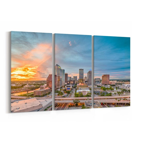 Tampa Skyline Wall Art Tampa Canvas Print Florida Multiple Sizes Wrapped Canvas on Wooden Frame