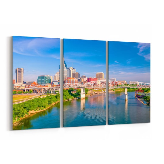 Nashville Canvas Print Nashville Wall Art Canvas Tennessee Multiple Sizes Wrapped Canvas on Wooden Frame