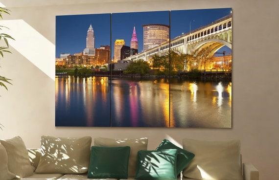 Cleveland skyline Cleveland wall art Cleveland city Cleveland art Cleveland Cleveland downtown Cleveland canvas