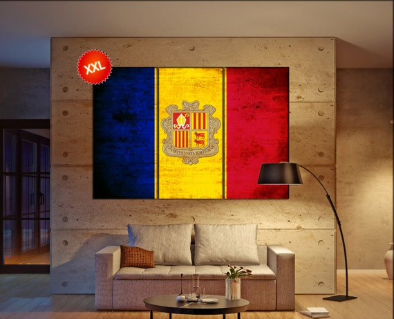 Andorra flag canvas wall art art print large  canvas wall art print country flag Andorra Wall Home office decor interior Office Decor