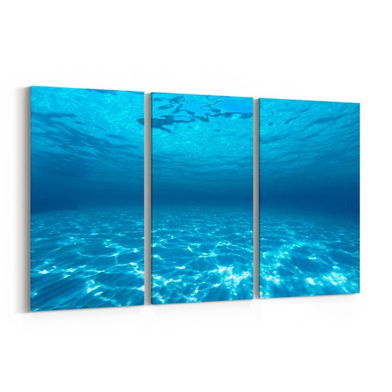 Underwater Canvas Print Underwater Wall Art Canvas Multiple Sizes Wrapped Canvas on Wooden Frame