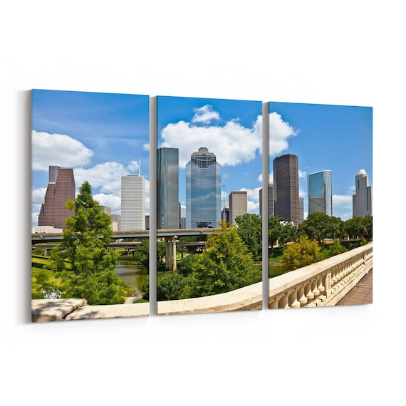 Houston Skyline Wall Art Houston Canvas Multiple Sizes Wrapped Canvas on Wooden Frame