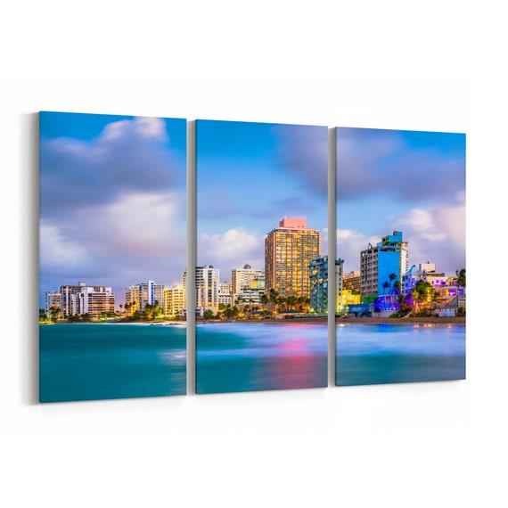 San Juan Skyline Wall Art San Juan Canvas Print Puerto Rico Multiple Sizes Wrapped Canvas on Wooden Frame