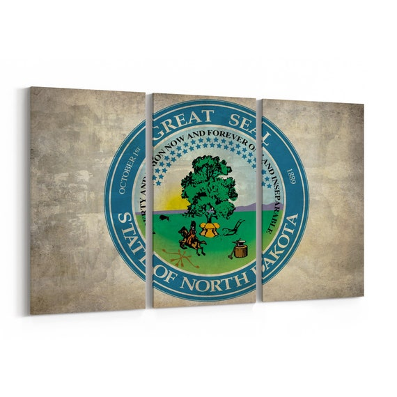 North Dakota State Seal Wall Art Canvas North Dakota State Seal Canvas Print Multiple Sizes Wrapped Canvas on Wooden Frame