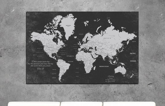 world map canvas, personalized world map, Push Pin Travel Map World, customize world map, push pin map, travel map, world map wall art