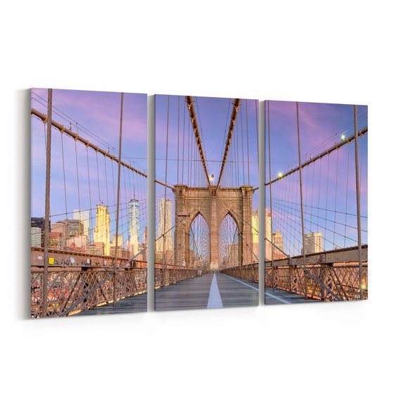 New York City Skyline Wall Art New York City Canvas Print New York Multiple Sizes Wrapped Canvas on Wooden Frame
